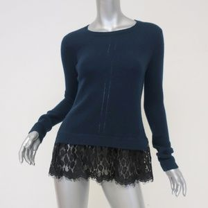 Autumn Cashmere Lace-Hem Sweater Navy Size Small